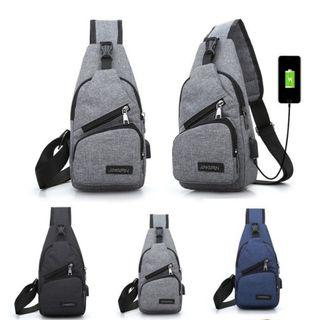 Casual Shoulder Bag with USB Port Waterproof Cross Body Messager
