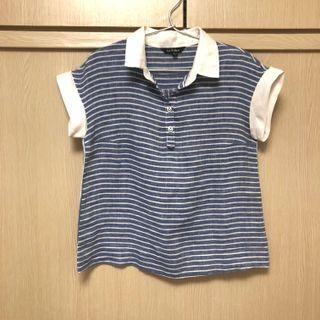 棉麻藍白線條上衣