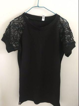 🚚 鏤空袖黑色長版衣