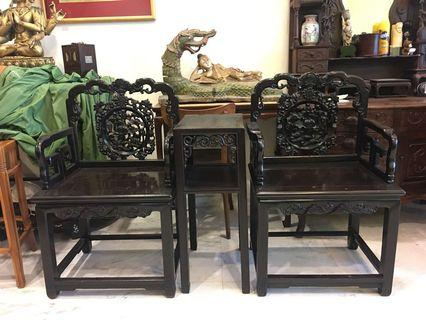 Antique Blackwood Table $ Chairs Set