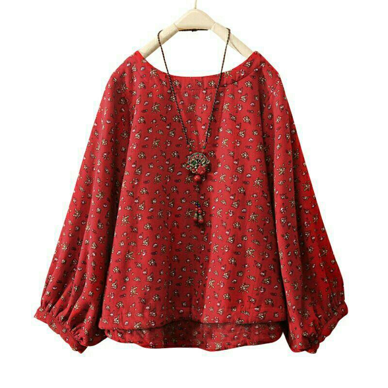 [2530] Women Floral Round Neck Long Sleeve Plus Size Blouse