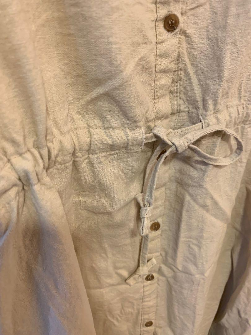 韓國購回 森林系 文青風 棉麻連身綁帶洋裝 米色