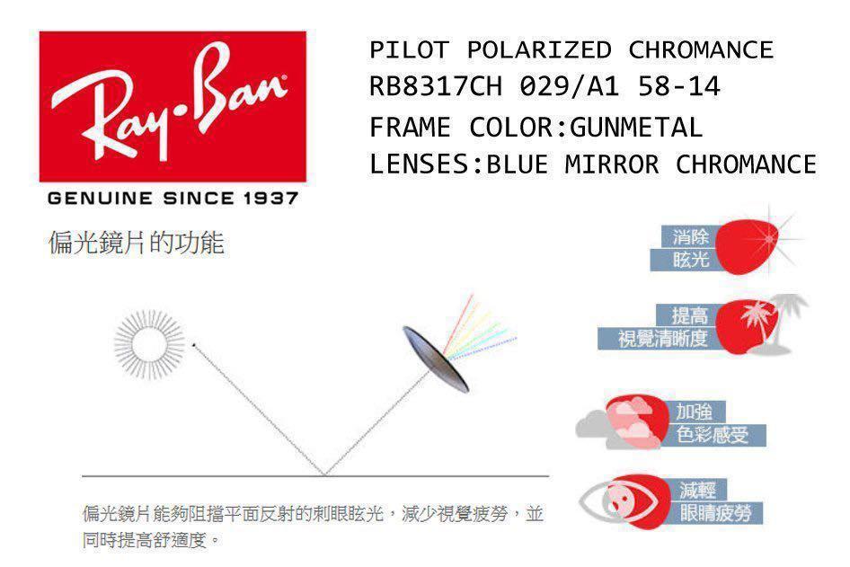 [正品半價] Rayban RB8317-CH 029/A1 碳纖臂藍水銀鏡面+偏光Polarized鏡