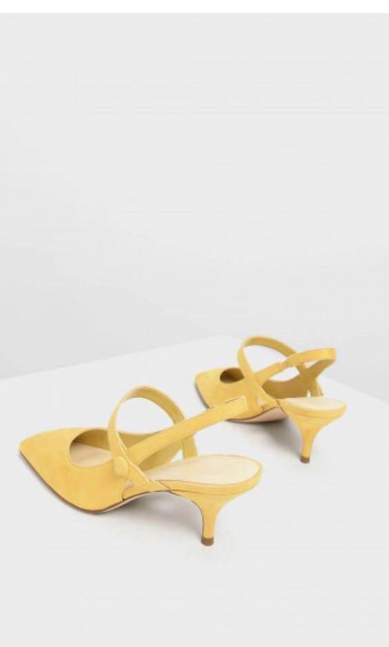 Charles and keith yellow SQUARE TOE MARY JANE SLINGBACK HEELS