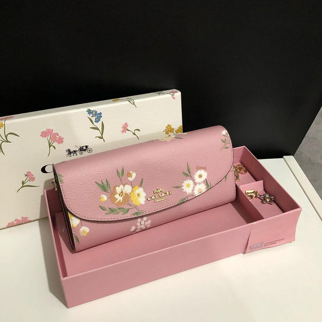Coach Envelope Wallet set (with wallet charms) in Carnation Multi