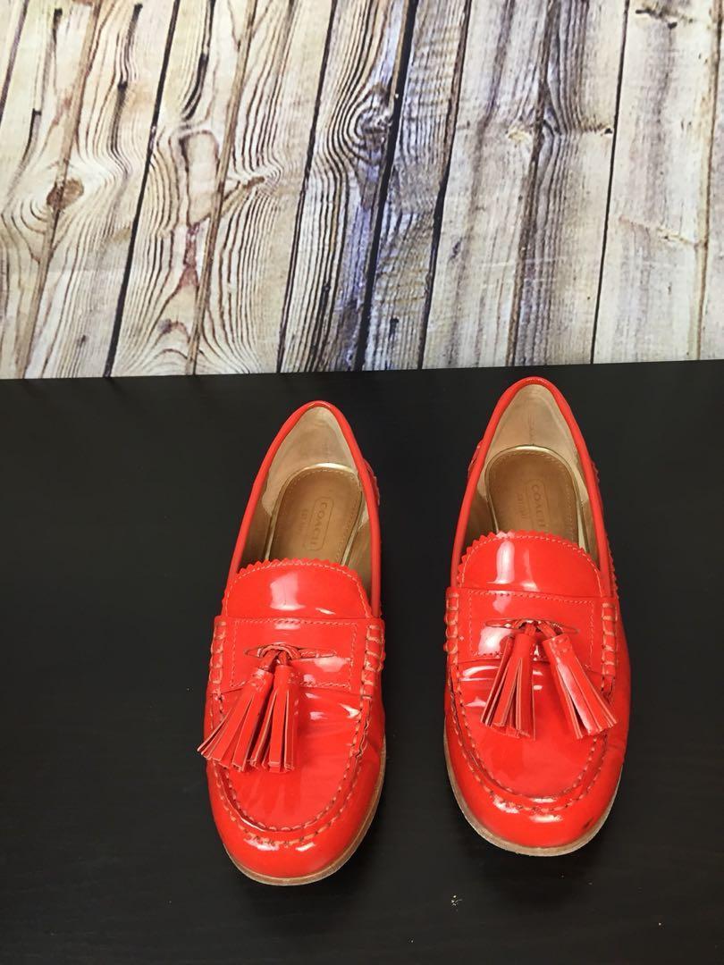 Coach Women's Loafers Haydee Tassels Orange Leather Loafers 6.5 M