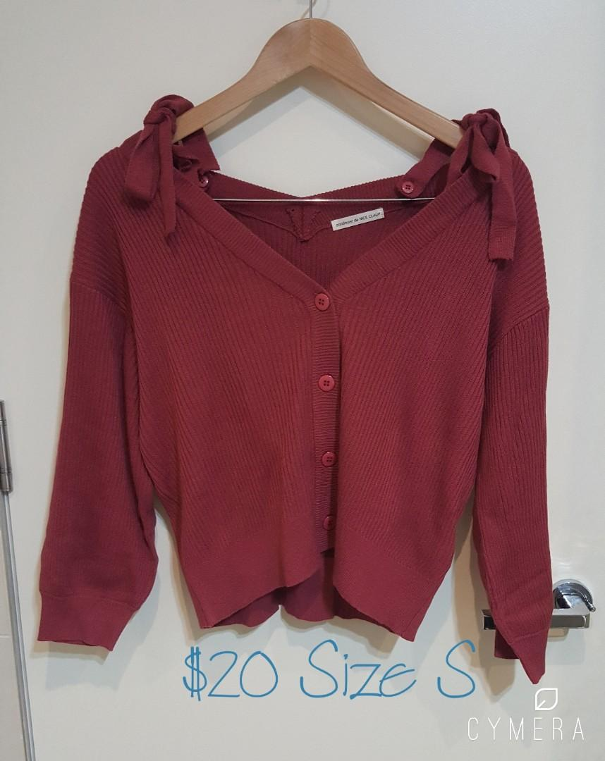 """""""Continuer de NICE CLAUP"""" Japanese Brand Dark Pink Cardigan/Light Knit Top with Removable Shoulder Straps (Size S)"""