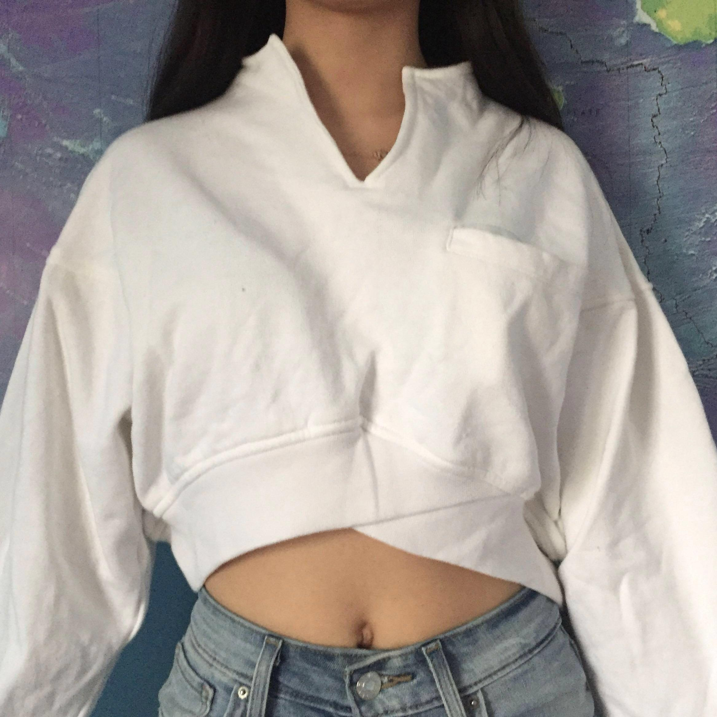 Cropped White Quarter Zip Style Sweater w/ front pocket