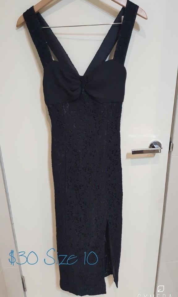 """Debut"" Vintage Black Crossed Back Long Pencil Dress With Lace Details (Size 8-10)"
