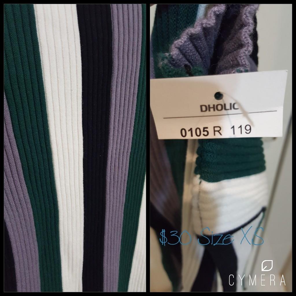"""DHOLIC"" High Neck Beatifully Striped Knit Top - Whitw/Black/Purple/Green (Size XS)"