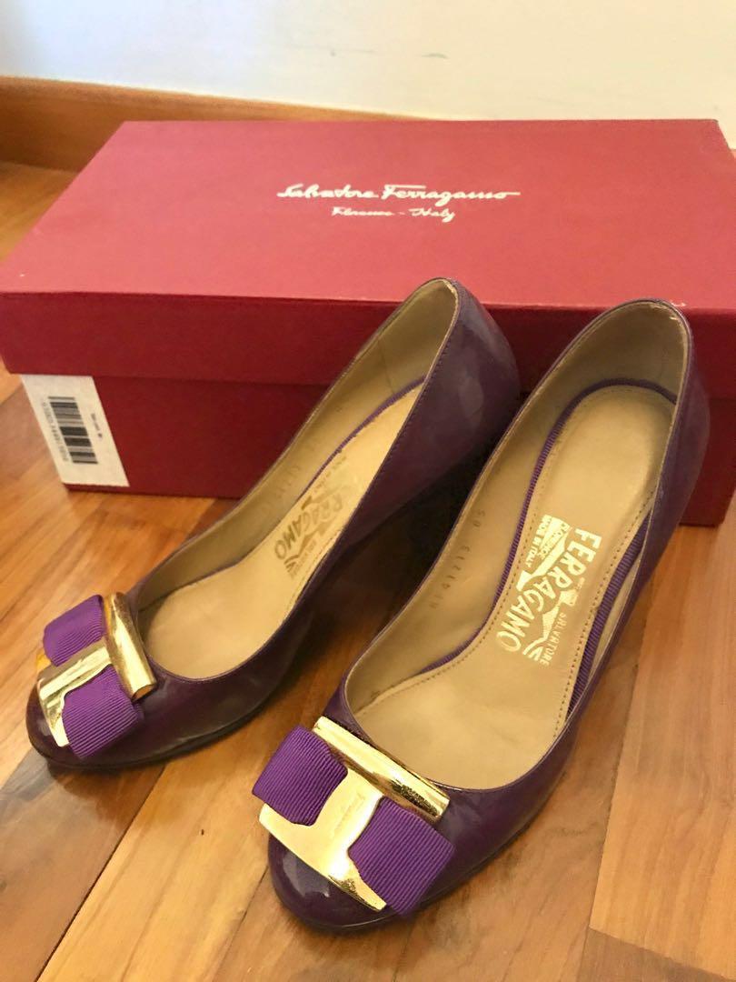 Ferragamo Patent Purple Leather Heels/ Pumps