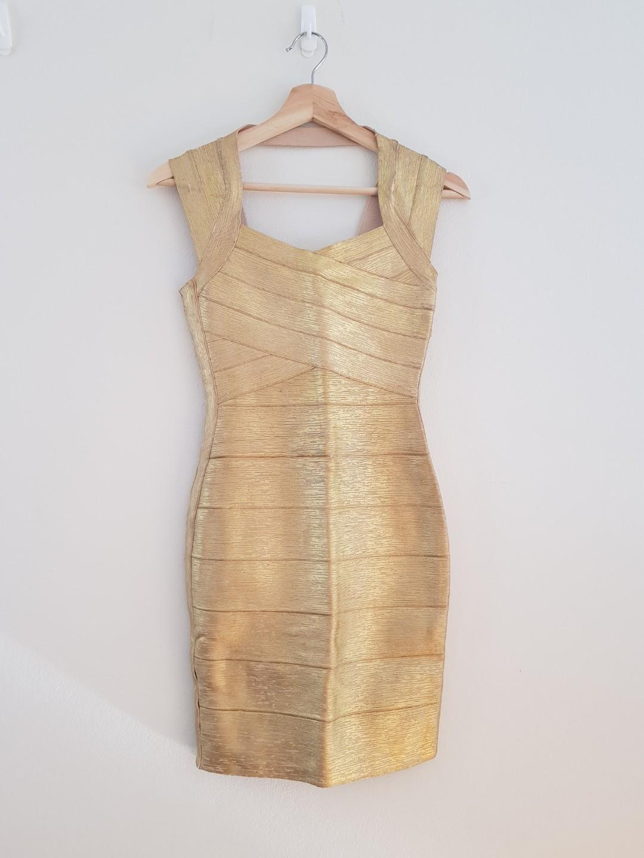 Gold bandage dress