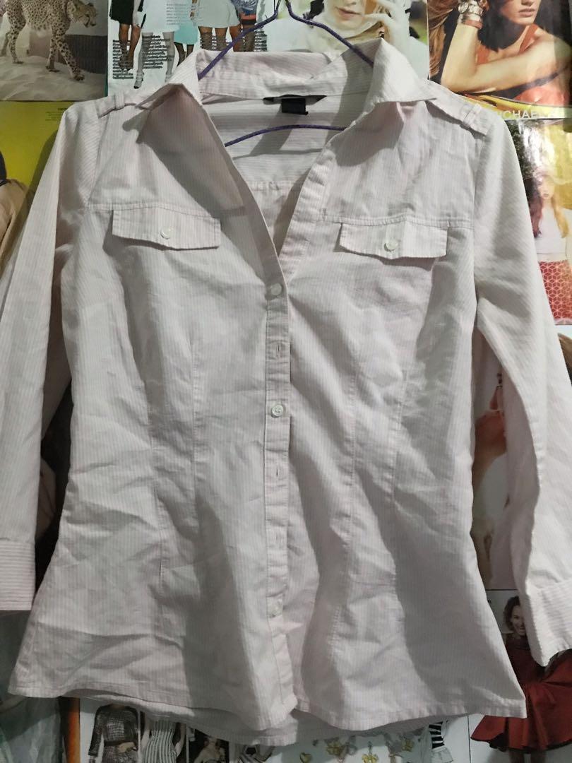 H&m pink stripe shirt