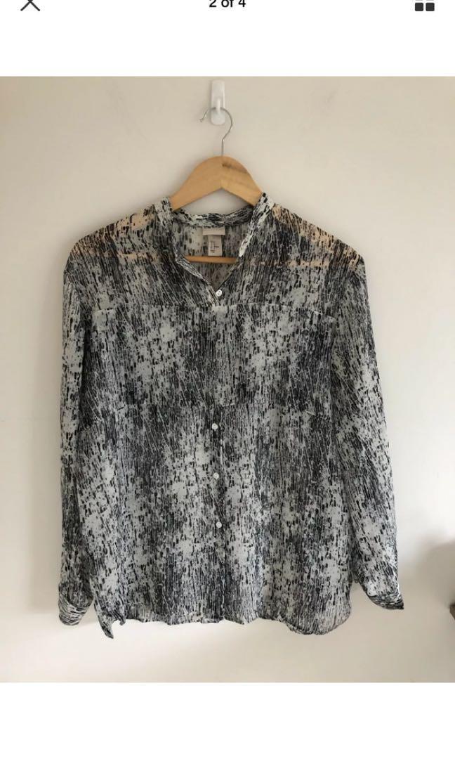 H&M watercolour print sheer work blouse