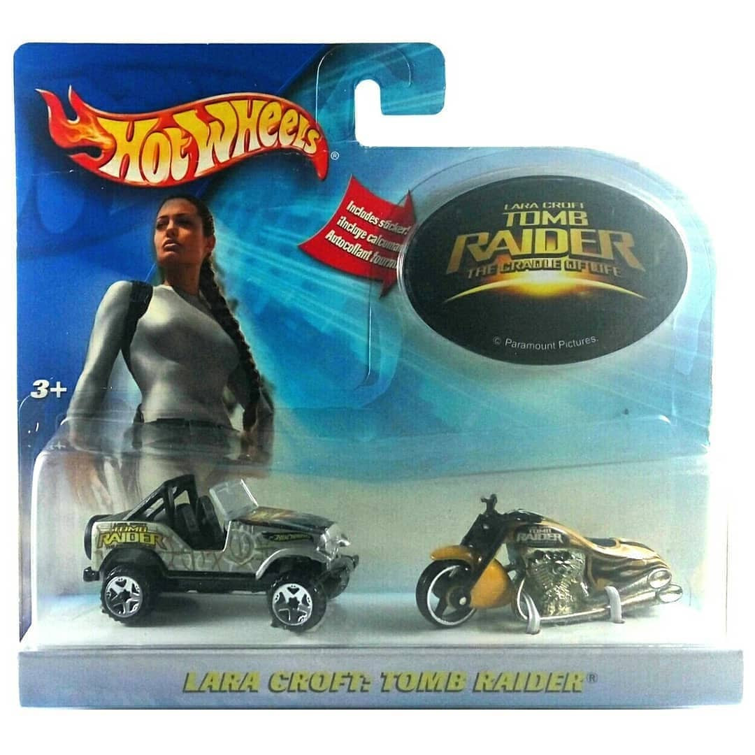 Hot Wheels Lara Croft Tomb Raider Jeep CJ-7 /& Scorchin Scooter Car Motorcycle