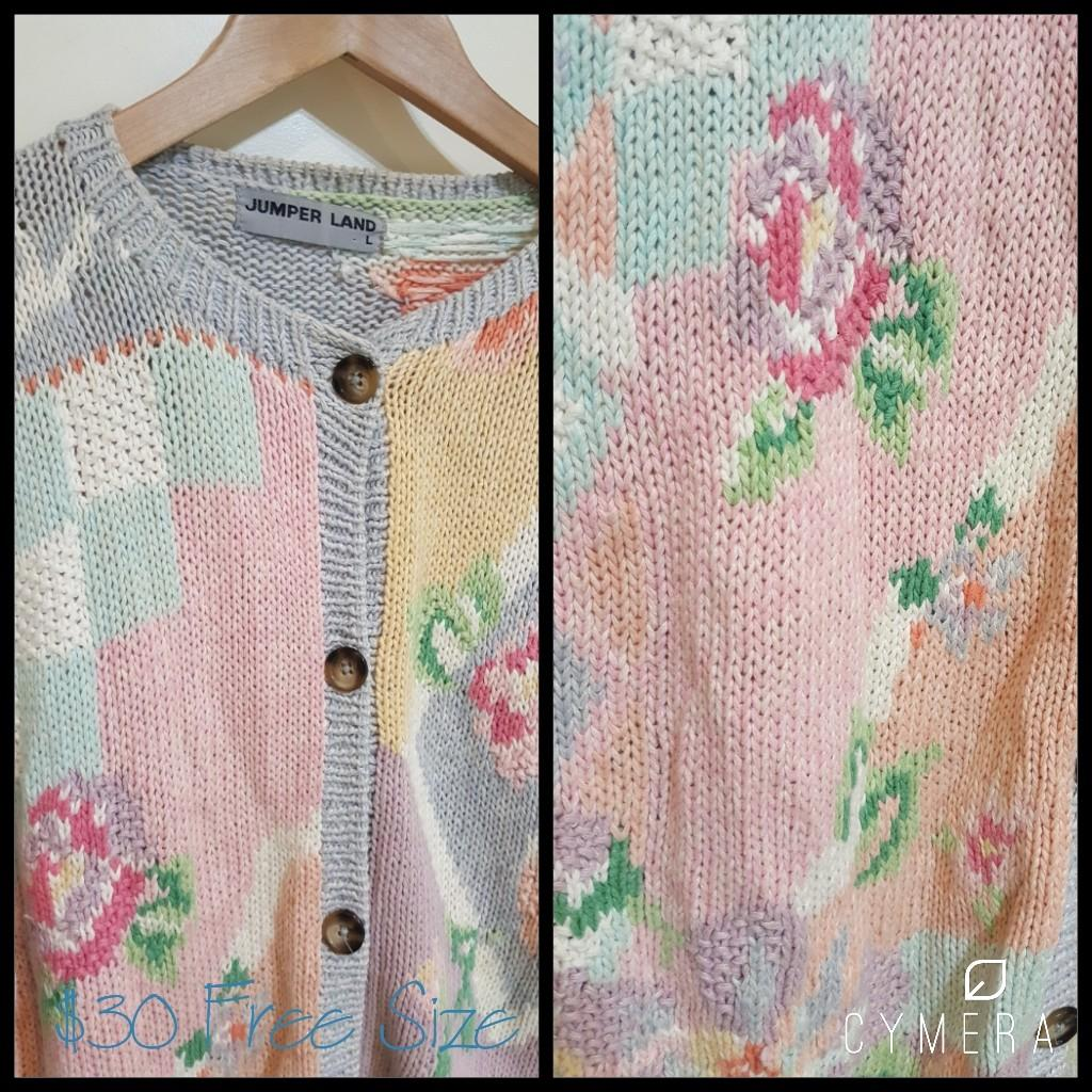 """Jumper Land"" Unique Vintage Oversized Pastle Floral Knit Carigan (Free Size)"
