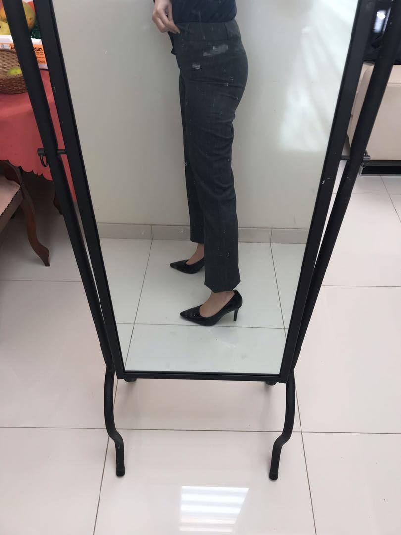 Kookai Mid-high waisted 90s vintage dark grey straight leg suit pants