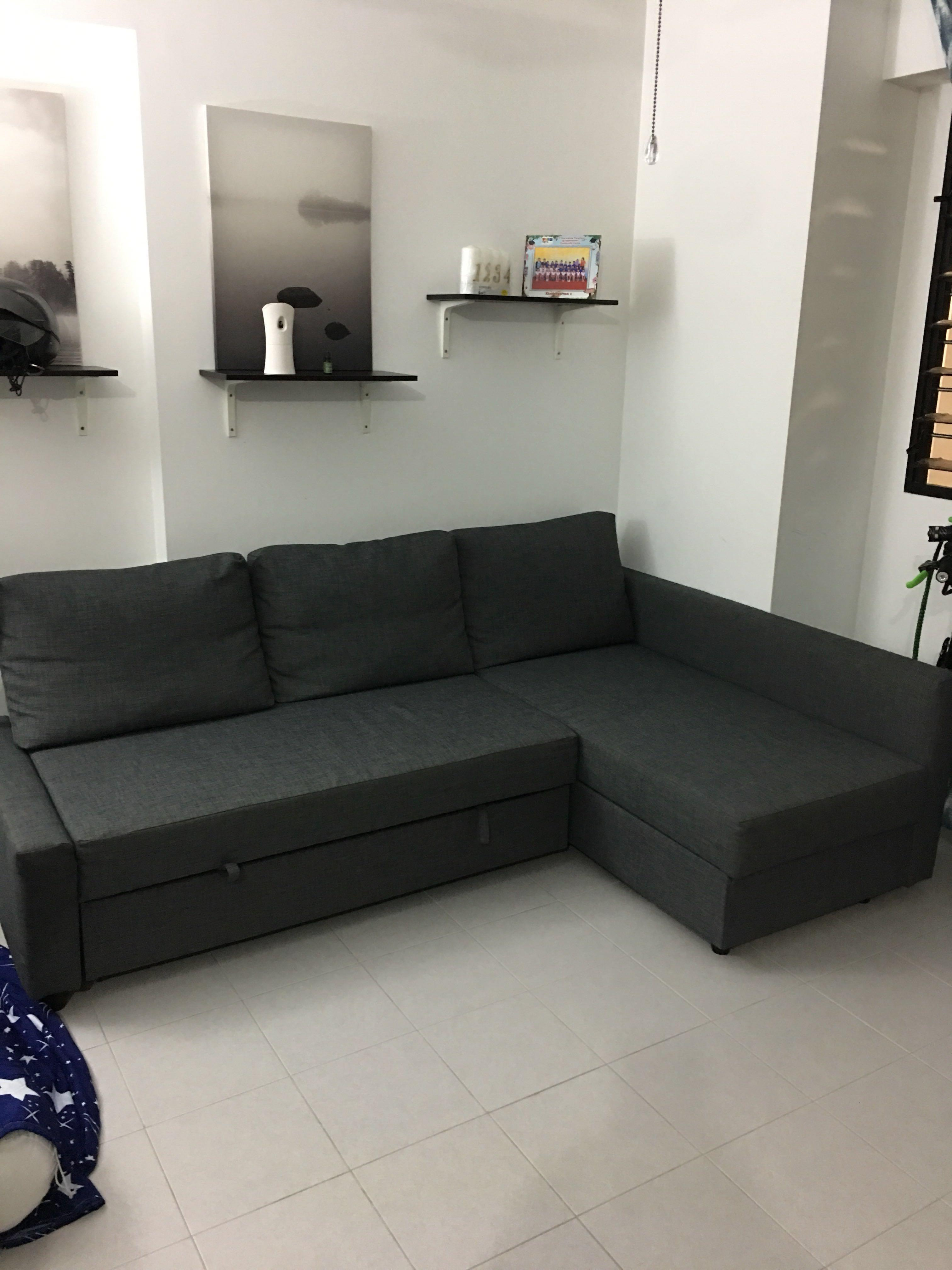 L Shaped Sofa bed storage bed queensize , Furniture, Sofas on Carousell