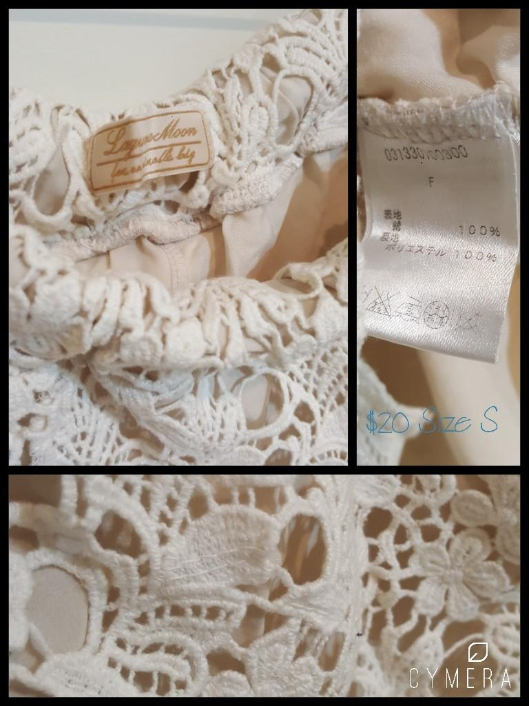 """Laguna Moon"" Japanese Brand Lace Beige Shorts (Size S)"