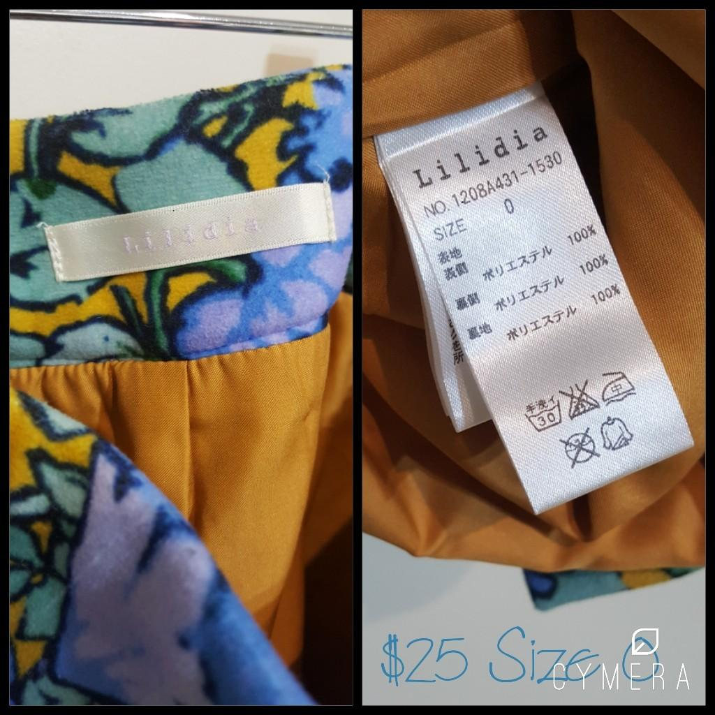 """""""Lilidia"""" Japanese Brand Blue and Mustard Floral Patterned Midi Pencil Skirt (Size 0)"""