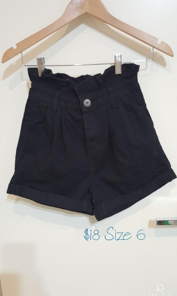"""""""Made for Restless Generation by Factory"""" Paperbag High Waisted Black Denim Shorts (Size 6)"""