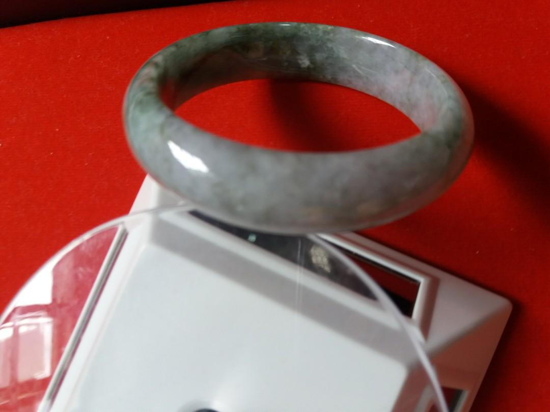 Sales! Geniune Cooling Jadeite Burmese Jade Bangle. Come with Elegant Velvet Box for Yourself or as Gift to Loves One!