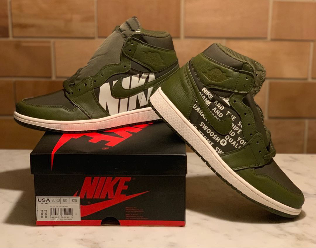 74e7f8e4 Nike Air Jordan 1 Retro High OG( Olive Canvas ), Men's Fashion, Footwear,  Sneakers on Carousell