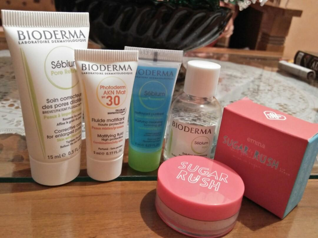 Paket BIODERMA Sebium Oily Acne Kit + Emina Sugar Rush Lip Scrub