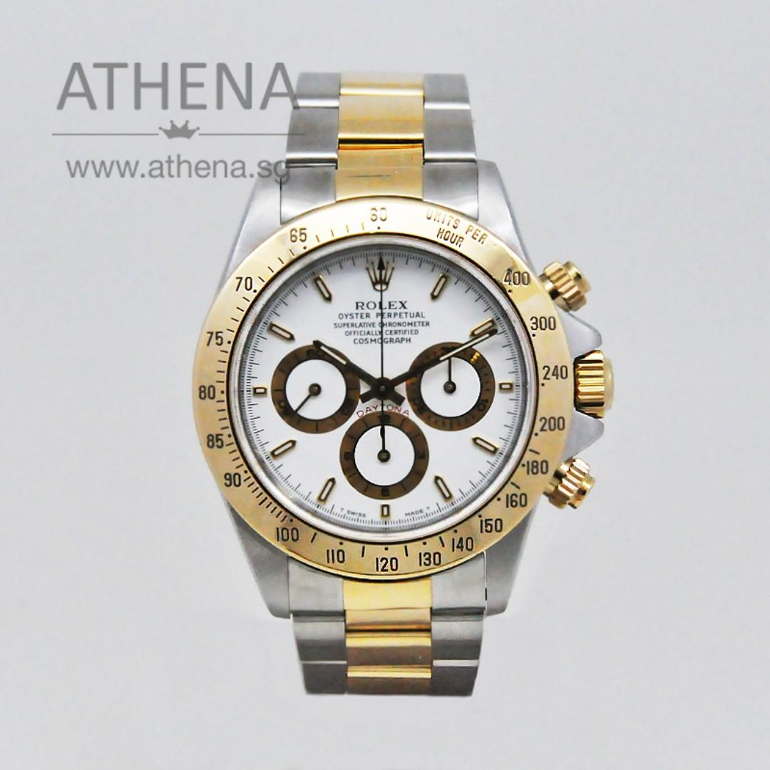 "ROLEX ""HALF-GOLD"" DAYTONA COSMOGRAPH ""U"" SERIES ""WHITE INDEX CHRONOGRAPH DIAL"" ZENITH MOVEMENT 16523 JGWRL_923"