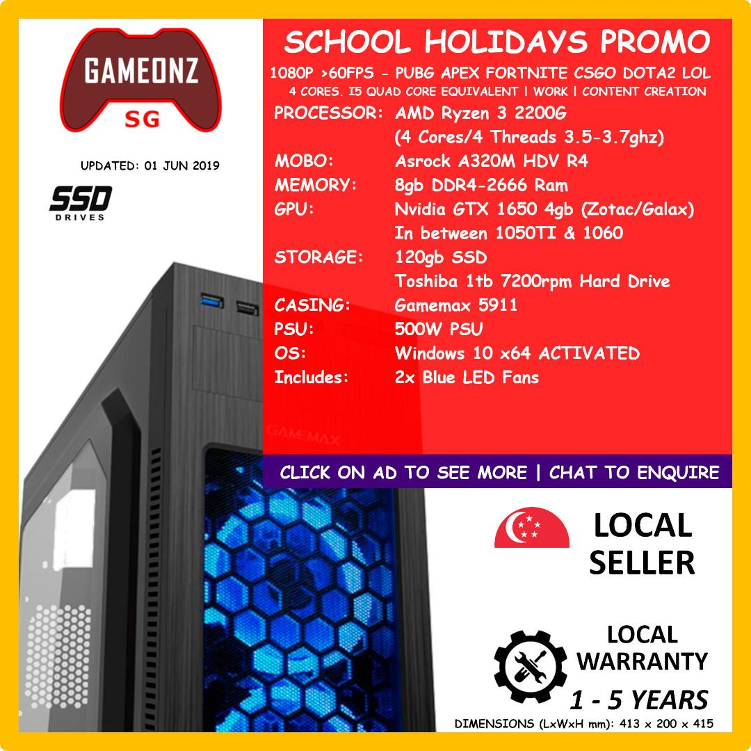 SCHOOL HOLIDAYS PROMO BUDGET GAMING PC AMD RYZEN 3 2200G 8GB