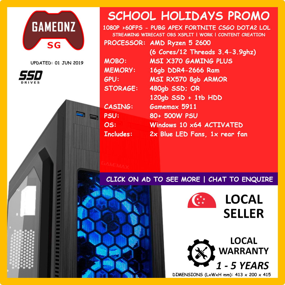 SCHOOL HOLIDAYS PROMO GAMING PC WORKSTATION AMD RYZEN 5 2600 16gb Ram 480gb  SSD MSI RX570 8G ARMOR