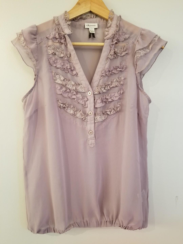 Size S DYNAMITE  ruffled sheer soft lilac sleeveless blouse