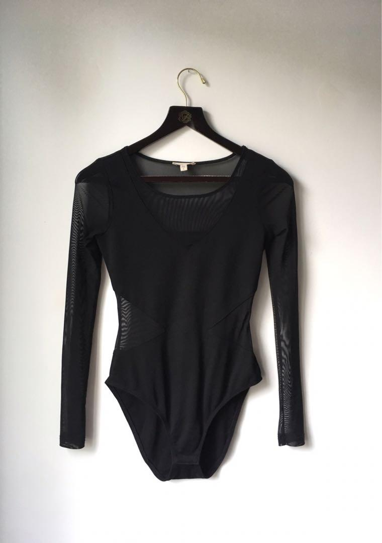 Urban Outfitters Black Widow mesh cut out bodysuit size small