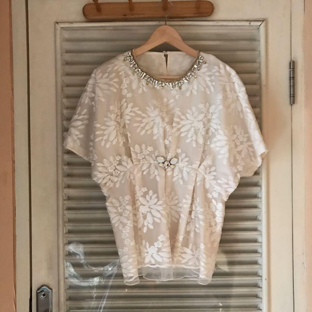 White Blouse with Beads
