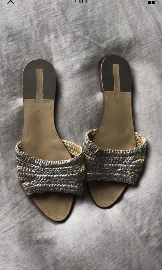 Zara woven straw metallic slide sandalsb