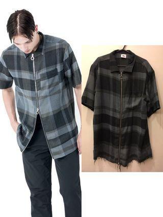 🚚 Chapter Ch. shirt - 拉鍊 短袖襯衫 長版 寬版 抽鬚