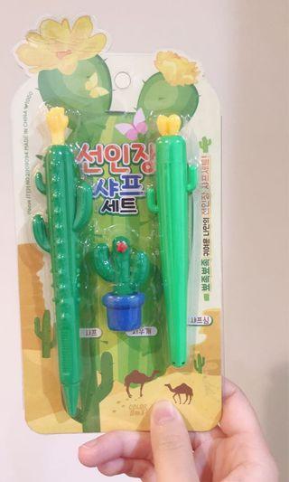 🚚 仙人掌造型韓國文具自動鉛筆筆芯橡皮擦