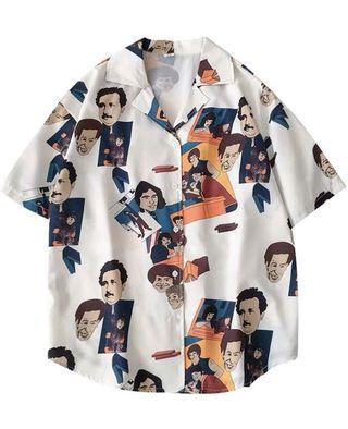 Oversize painted button shirt
