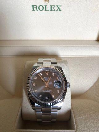 🚚 Rolex datejust II (126334)(41mm) diamond , rhodium dial Oyster bracelet