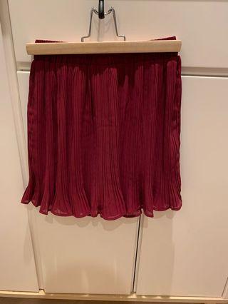 Skirt 棗紅色百褶裙