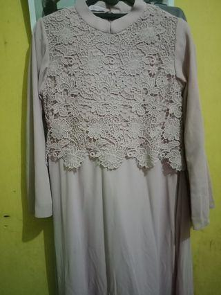 Dress Brukat / Gamis dusty pink