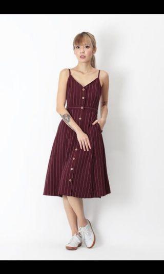 🚚 Aforarcade Tegan Stripe Midi Dress in Berry #MRTRaffles
