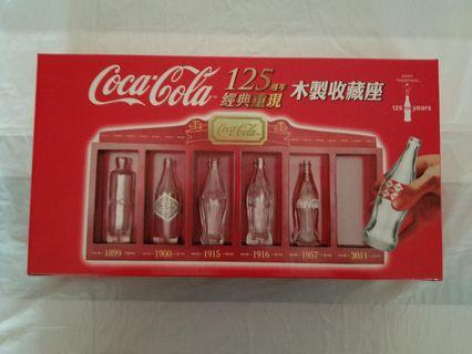 可口可樂木製收藏座連6支袖珍玻璃樽