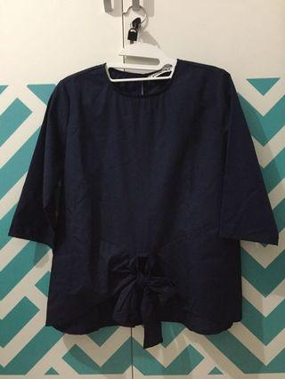 Front Bow Blouse Navy