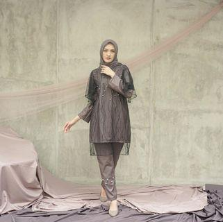 Tunic pearl dove grey famous scarf
