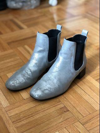 Topshop Silver Ankle Boots
