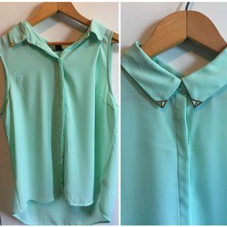Mint Button Down with Accented Collar