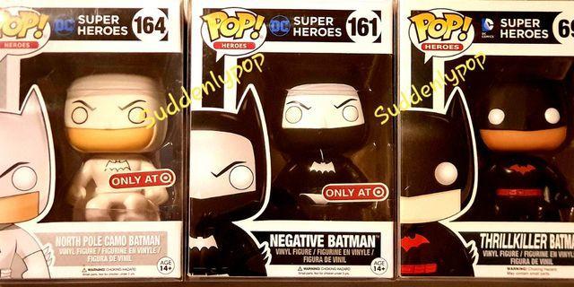 Funko Pop Heroe Batman North Pole Camo #164, Negative #161,  Thrillkiller #69