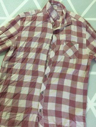 Kemeja Checkers Pink Belacan or Dusty Pink Cotton On