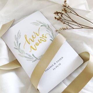 Custom Wedding Vow cards in Gold foil & watercolour leaves
